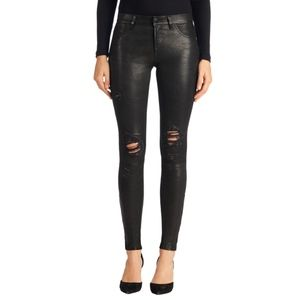 J Brand Mid Rise Stretch Leather Pant in Black {C}